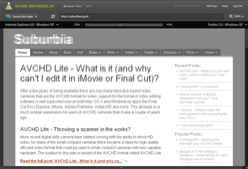 Image of Onion Skin view in BrowserLab