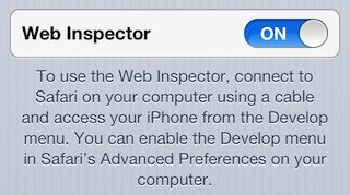 Screenshot of Web Inspector settings in iOS6 on an iPhone