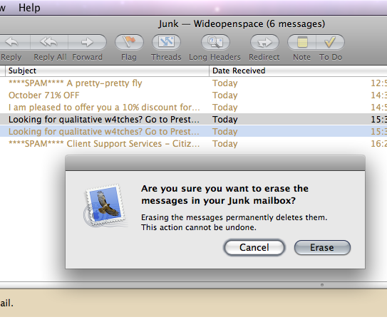 Picture of Leopard erase junk mail dialogue box