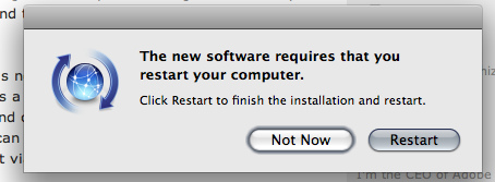 Picture of Leopard Software update reboot dialogue box