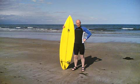 Picture of me on St Andrews beach with my rockin board!