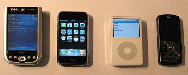 Dell Axim, iPhone, 5G iPod, Motorola phone
