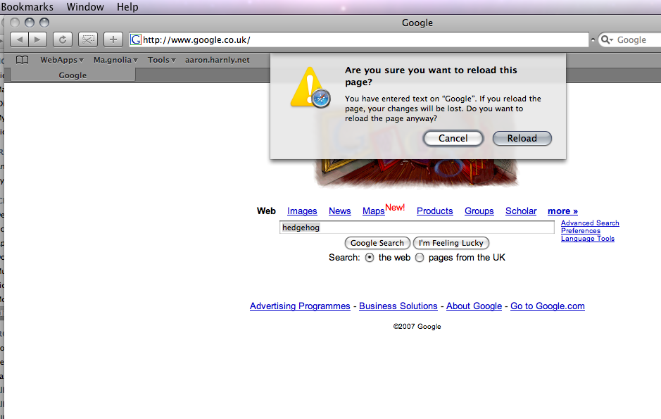 Mac OS 10.5 Leopard - Part 1: Safari form field warnings ...