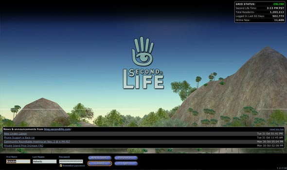 Login Screen - Second Life